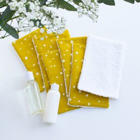 Lingettes lavables démaquillante éponge oeko-tex étoile moutarde
