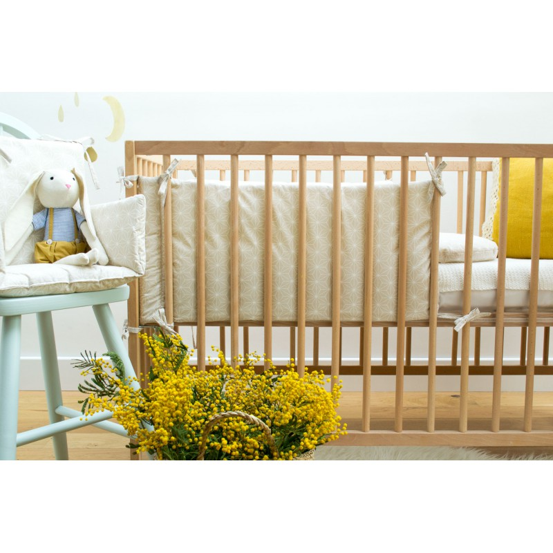 Tour de lit japonisant beige mixte made in france cocoeko - Tour de lit 60x120 ...