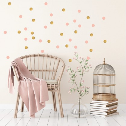 stickers pois rose et or