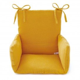 Coussin chaise haute bebe gaze de coton moutarde