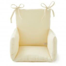 Coussin chaise haute bebe gaze de coton écru
