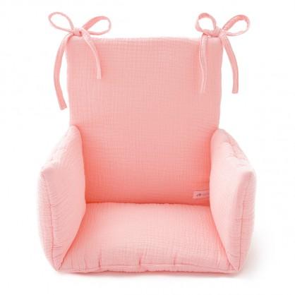 Coussin chaise haute bebe gaze de coton rose blush