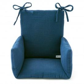 Coussin chaise haute en gaze de coton bleu marine