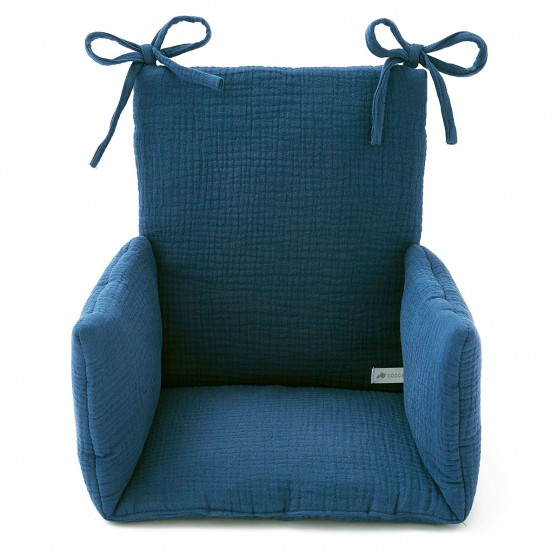 Epuis Coussin Chaise Haute Bb Gaze Coton Bleu Marine