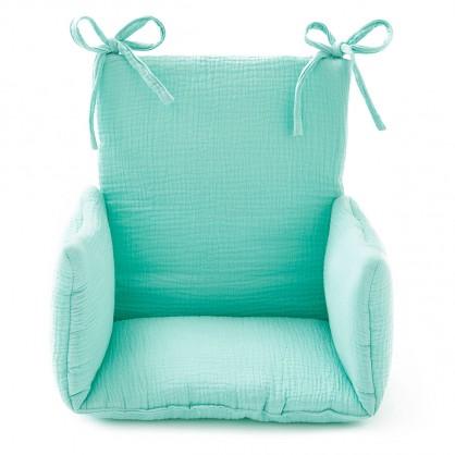 Coussin chaise haute bebe gaze coton menthe