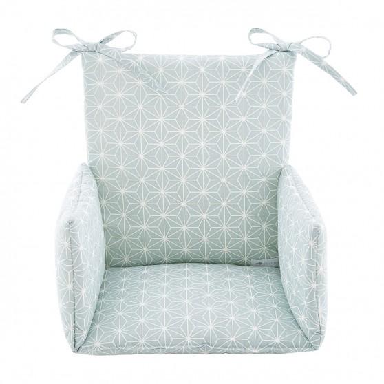 coussin de chaise haute asanoha vert tendre