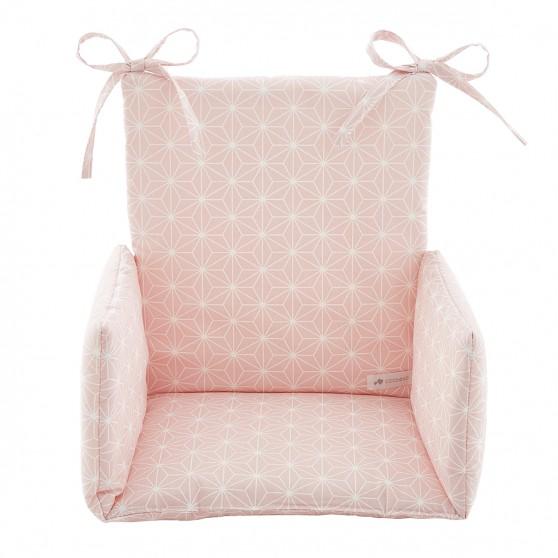 Coussin de chaise haute Asanoha rose poudré