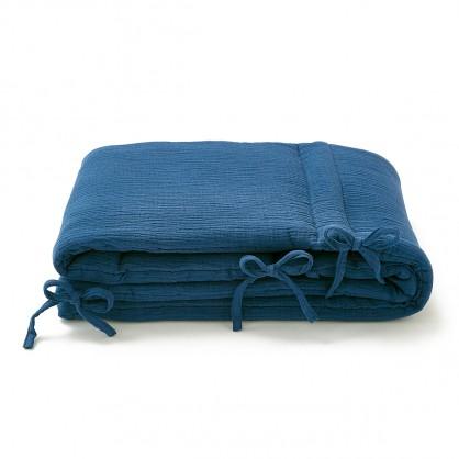 Tour de lit bébé gaze de coton bleu marine