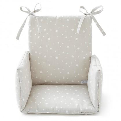 Coussin de chaise haute etoile gris perle