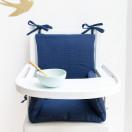 Coussin chaise haute bebe combelle gaze coton bleu marine