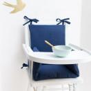 Coussin chaise bebe combelle gaze coton bleu marine