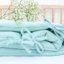Tour de lit bébé menthe double gaze