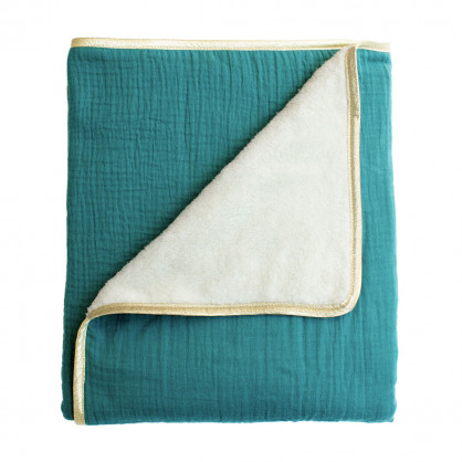 Couverture plaid polaire bebe vert sapin