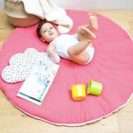 Tapis d'éveil bébé rond en gaze de coton ROSE/CORAIL
