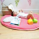 tapis d eveil bebe rond rose gaze coton