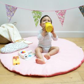 Tapis d'éveil bébé rond Rose + Corail