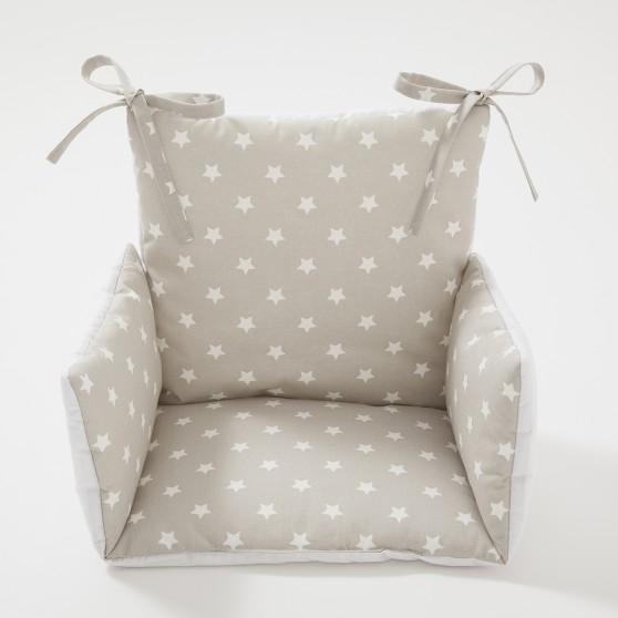 Coussin chaise haute toiles beige cocoeko - Coussin pour chaise bebe ...