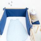 tour de lit garcon bleu marine double gaze