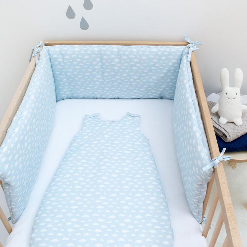 tour de lit nuage bleu ciel adapt lit 60x120 et 70x140 cocoeko. Black Bedroom Furniture Sets. Home Design Ideas