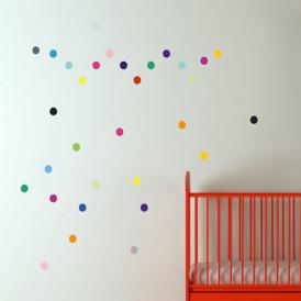 Stickers muraux enfant pois multicolore pom
