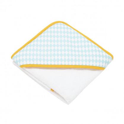 Cape de bain bébé losanges bleu