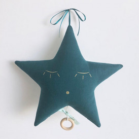 Mobile musical Étoile en gaze de coton Bleu canard