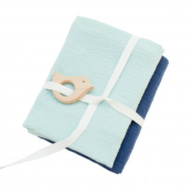 Lot de 2 langes bébé mint + marine