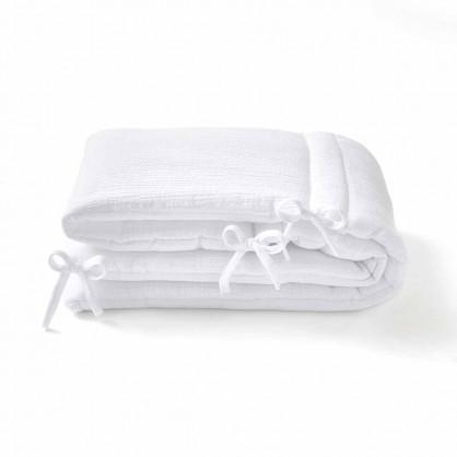 Tour de lit en gaze de coton BLANC