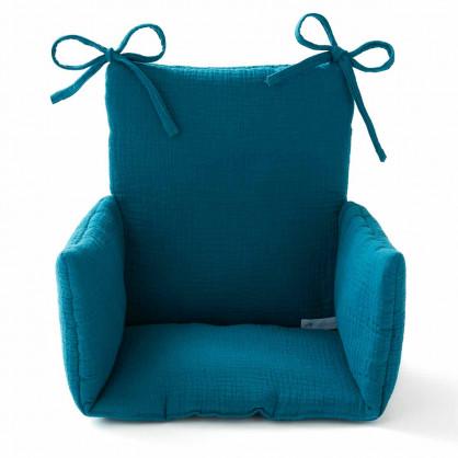 Coussin chaise haute en gaze de coton BLEU PAON