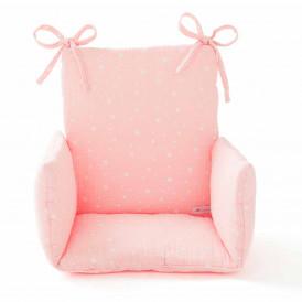Coussin chaise haute en gaze de coton ETOILES ROSE BLUSH