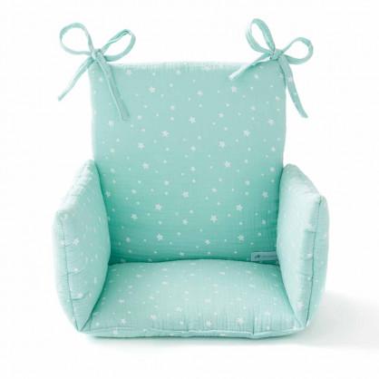 Coussin chaise haute en gaze de coton ETOILES MENTHE CLAIRE