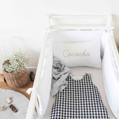 Tapis d'éveil bébé rond en gaze de coton BLEU PAON/ GRIS CLAIR