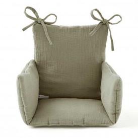Coussin chaise haute en gaze de coton VERT SAUGE
