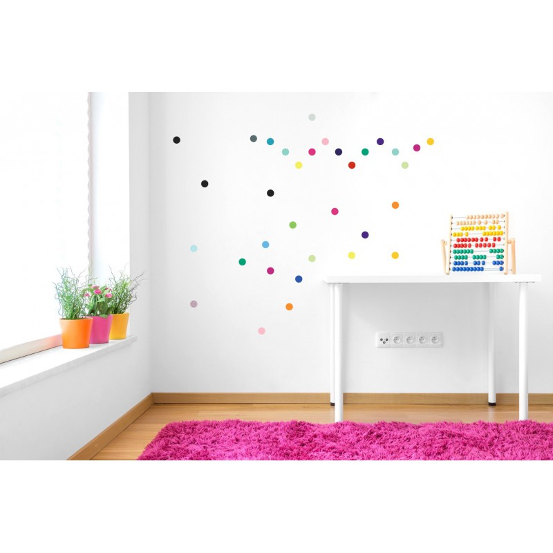 stickers muraux enfant pois multicolore pom le bonhomme. Black Bedroom Furniture Sets. Home Design Ideas