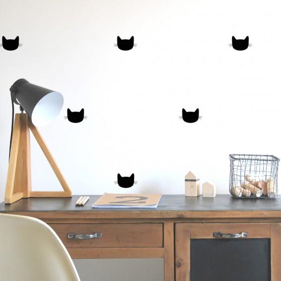 stickers muraux chat noir