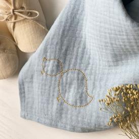 Lange bébé en gaze de coton BLEU GLACIER