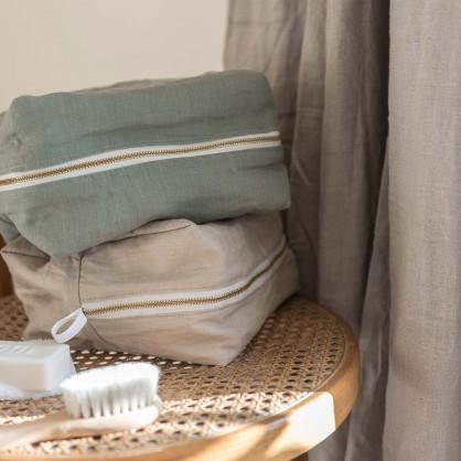 Trousse de toilette en lin BISCUIT