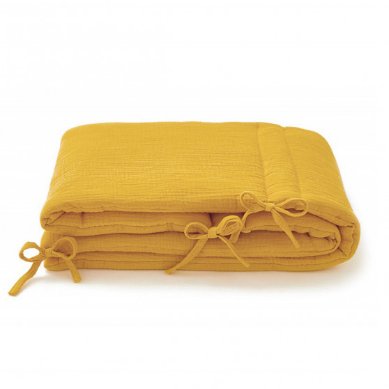 Tour de lit bébé gaze de coton moutarde