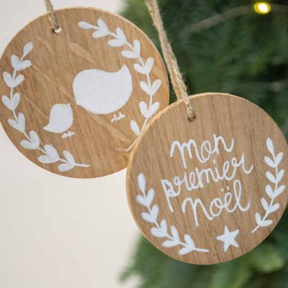 Duo de décoration en bois pour Noël