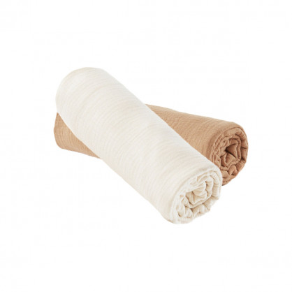 Lot de 2 draps housse ECRU / CAMEL