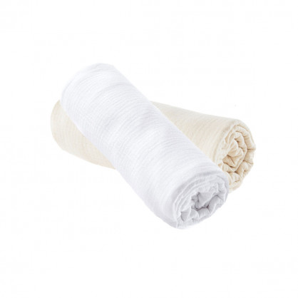 Lot de 2 draps housse ECRU / BLANC