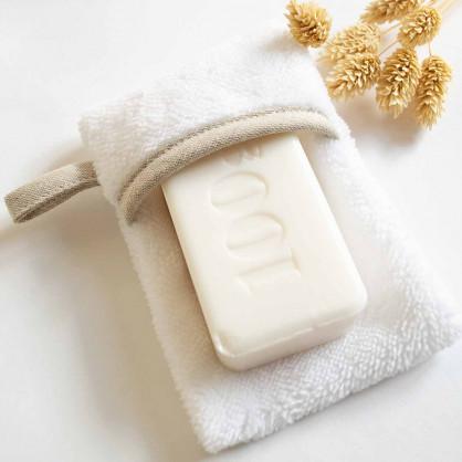 Pochette savon blanc biais LIN