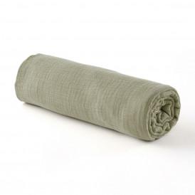 Drap housse gaze de coton VERT SAUGE - 2 tailles