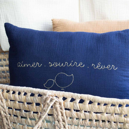 Coussin Cocoeko X Risette and co Bleu Nuit