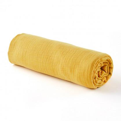 Drap housse gaze de coton MOUTARDE - 2 tailles