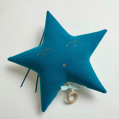 Mobile musical bleu canard et mint