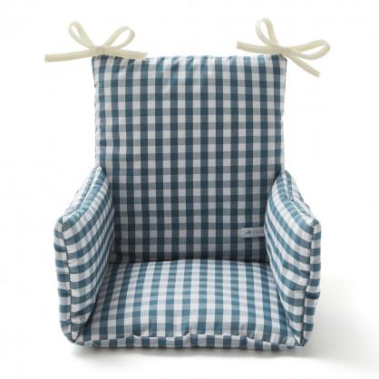 Coussin chaise haute VICHY BLEU PAON
