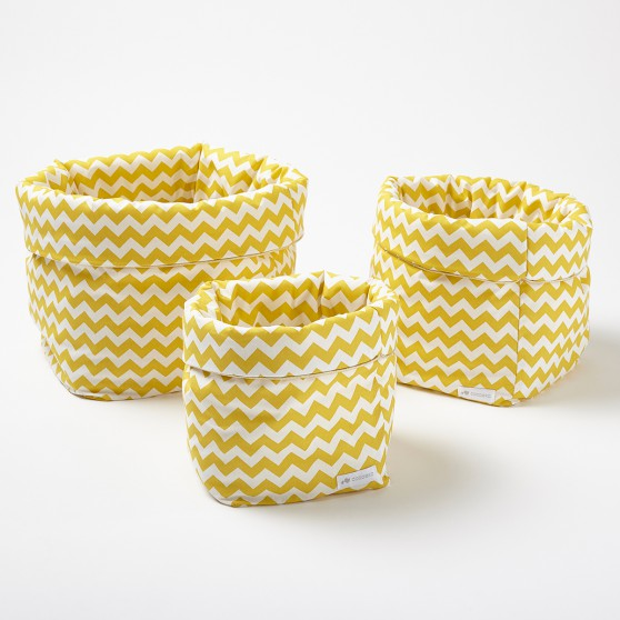 paniers de rangement en tissu chevron jaune moutarde. Black Bedroom Furniture Sets. Home Design Ideas