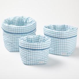 Panier de rangement souple écaille bleu