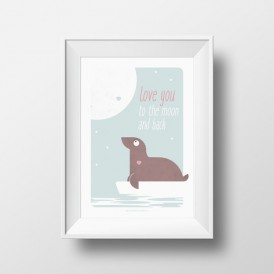 Affiche Love you to the moon and back A4